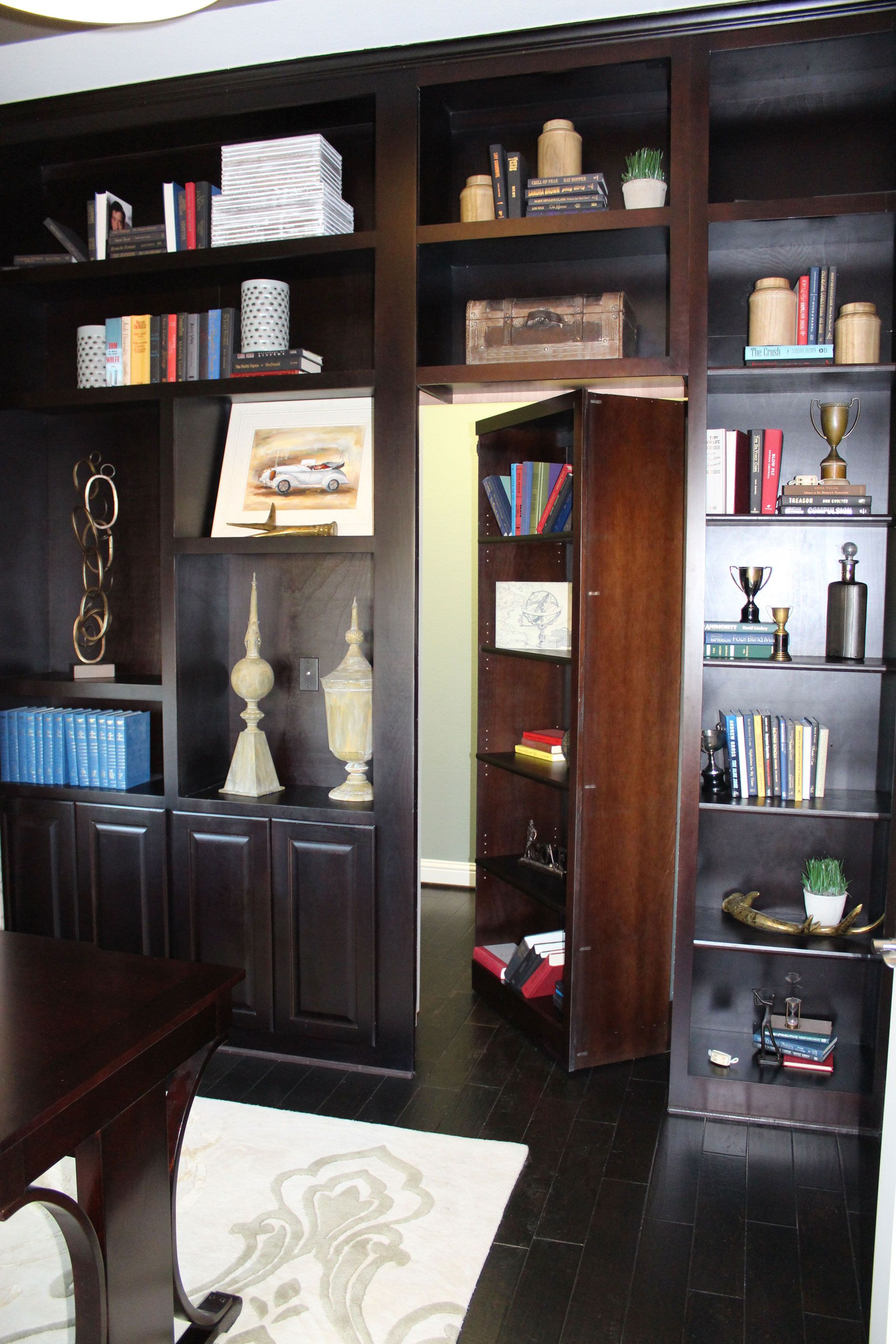 Built in office wall cabinets with Secret Door - Burrows Cabinets ...