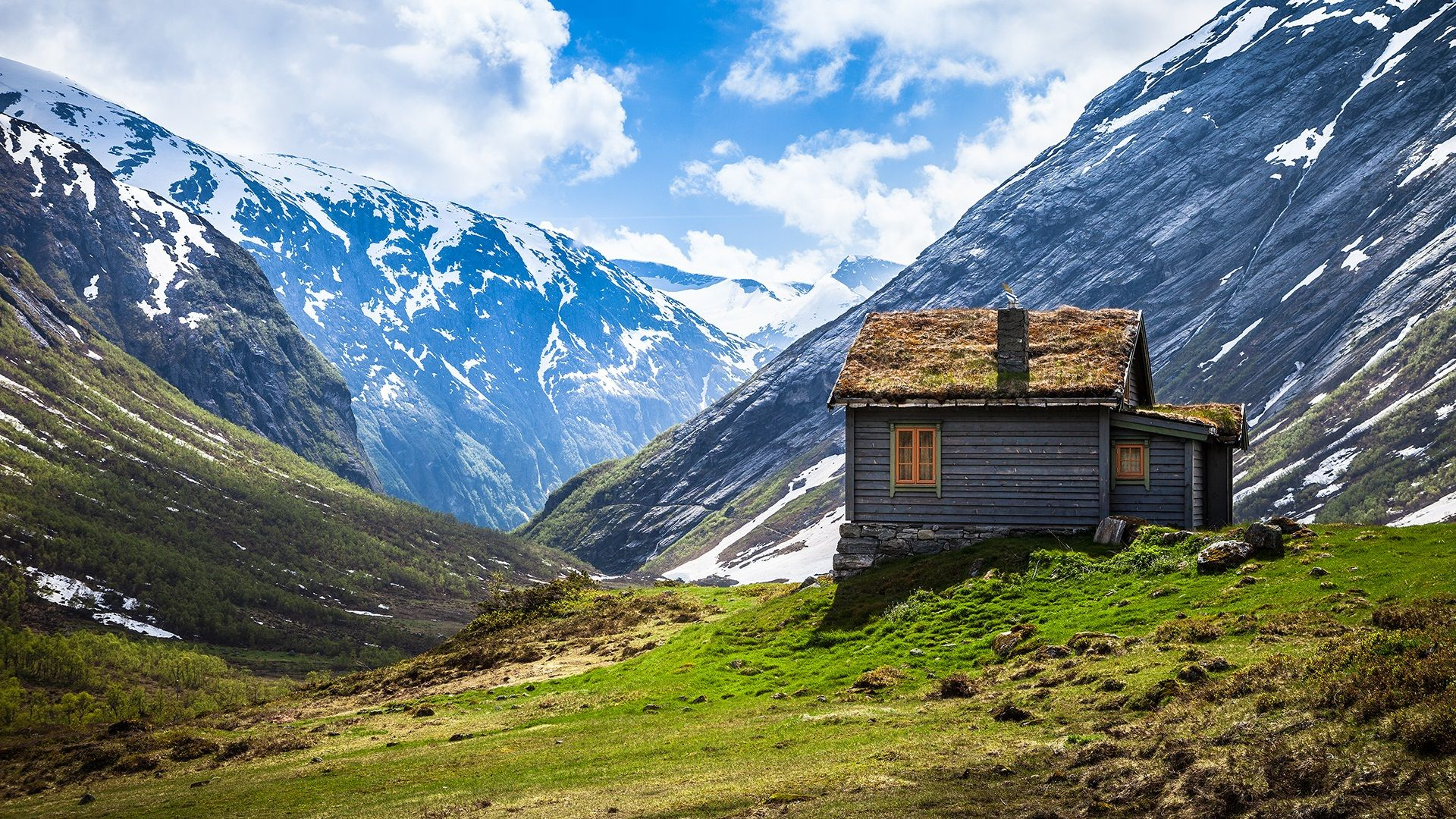 Cottage On Mountain Hill Wallpaper Norway House Mountain Lodge Mountain Cabin