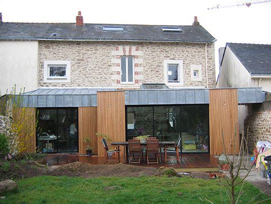 Salon Maison Bois Angers » Pierre, Zinc et Bois Façade et terrasse - maison en bois et en pierre