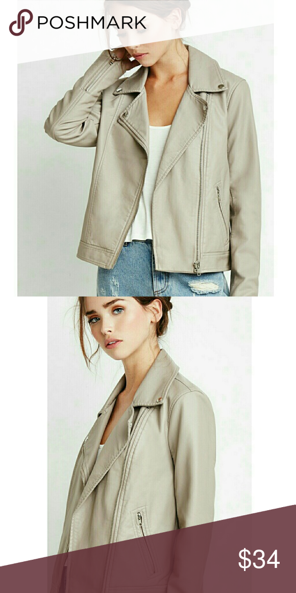 Forever 21 Faux Leather Moto Jacket in Natural Faux