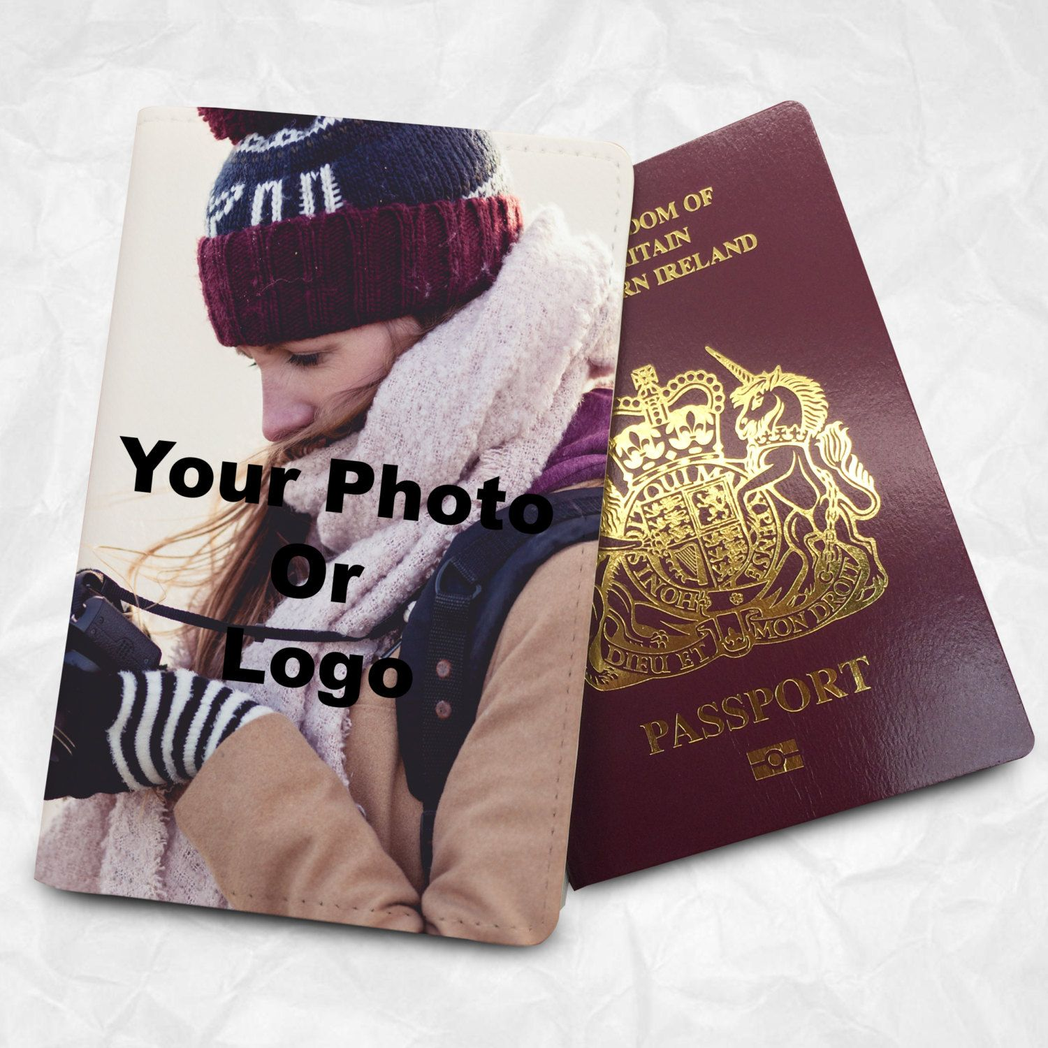 Custom photo passport cover with personalized design for