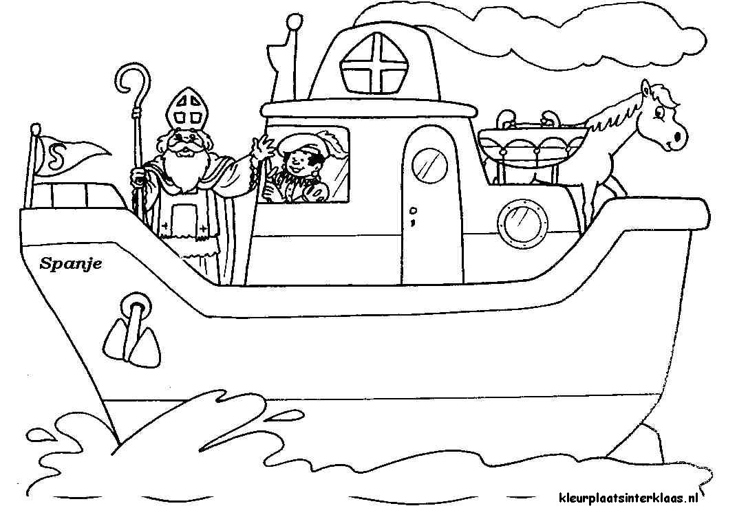 Kleurplaten Sinterklaas Stoomboot.Kleurplaat Stoomboot Sinterklaas Sinterklaas Sint