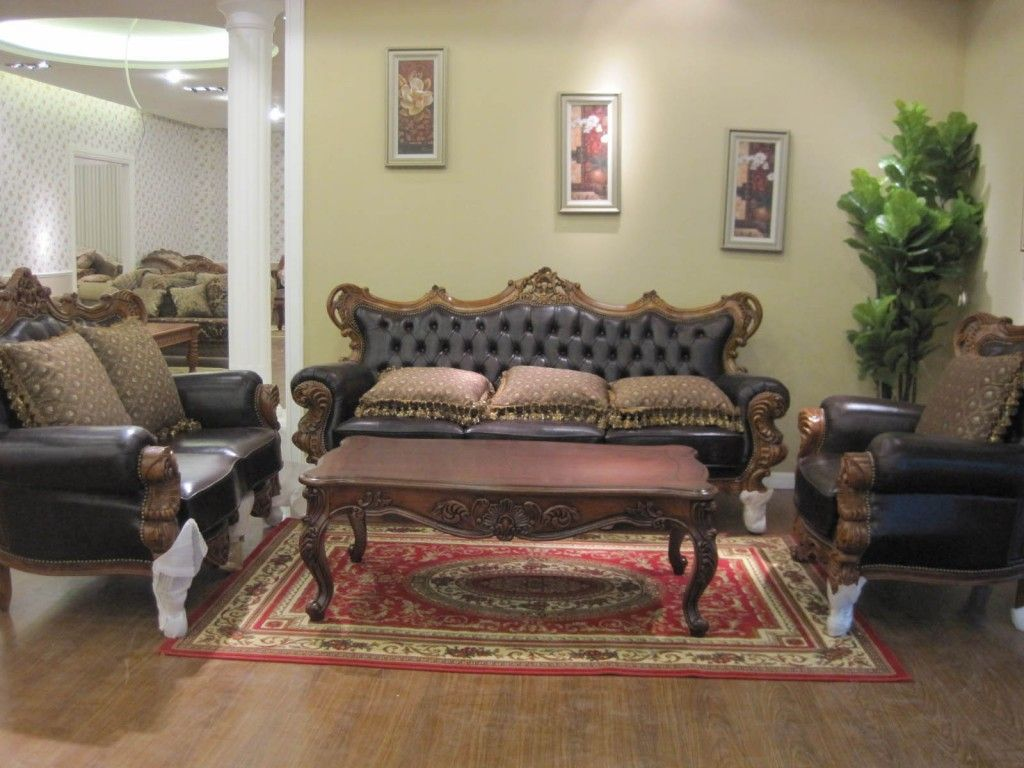 Antique Living Room Designs Impressive Livingroomfurniturelivingroomelegantblackleathersofaset Design Inspiration