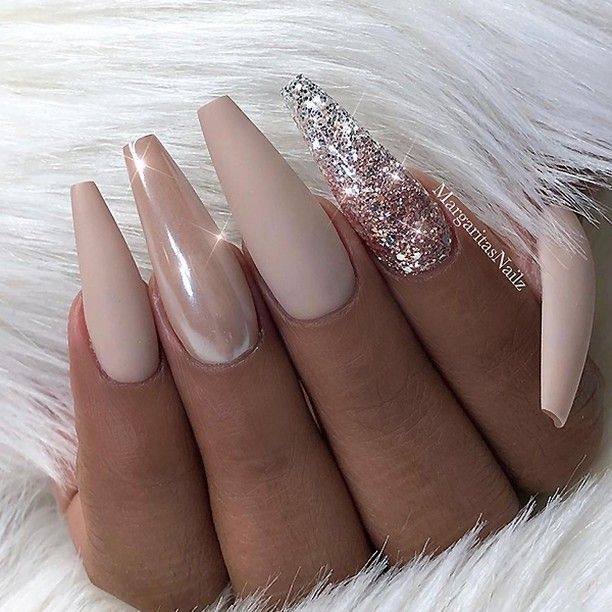 "TheGlitterNail � Get inspired! on Instagram: "" REPOST - - • - - Matte Nude with Glitter and Chrome Accent on long Coffin Nails � - - • - - � Picture and Nail Design by…"""