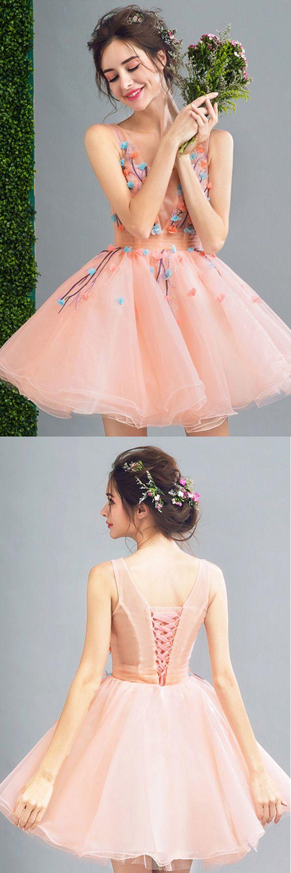 Peach ballgown scoop neck short organza formal dress with flowers