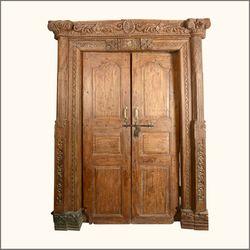 Elizabethan Hand Carved Solid Teak Double Doors