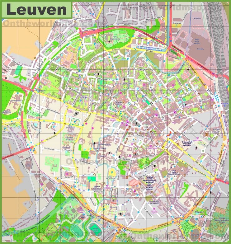 Large detailed map of Leuven Maps Pinterest Belgium and City