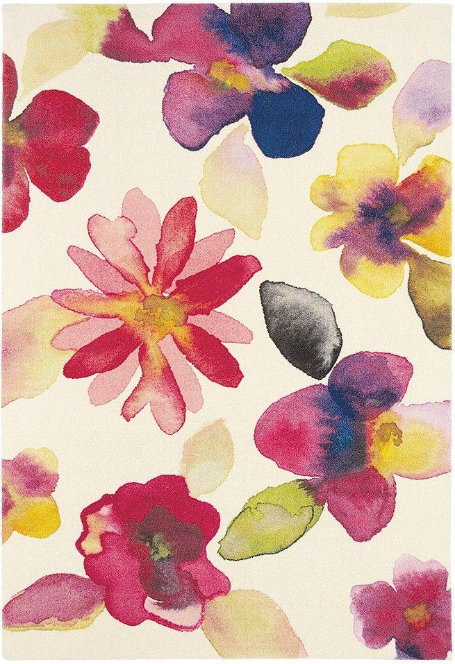 tapis de salon qualite motifs fleurs