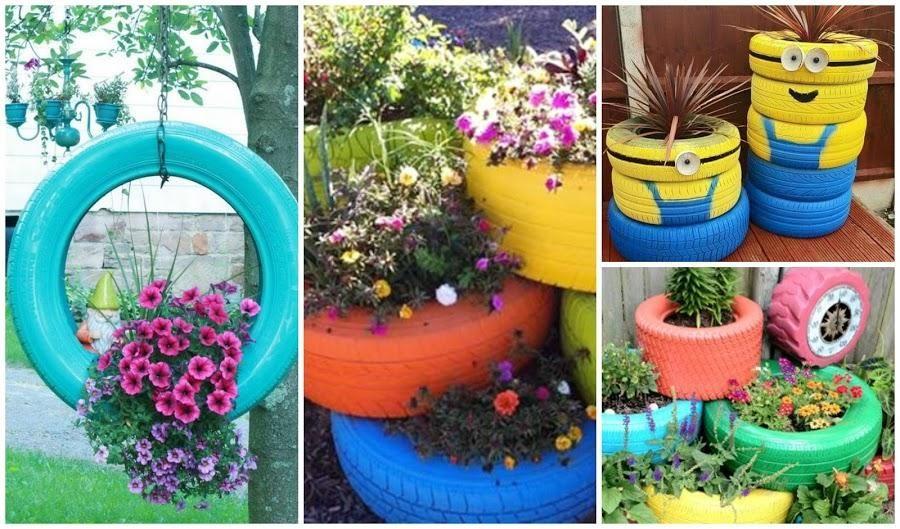Reciclando Llantas O Neumáticos Para Decorar El Jardín O La