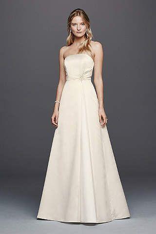 David S Bridal Collection Beaded Satin Wedding Dress With