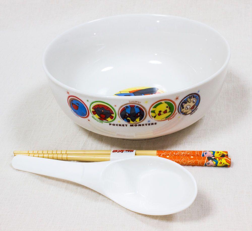 Pokemon Ramen Porcelain Bowl Spoon Chopsticks Set Pocket Monster JAPAN ANIME