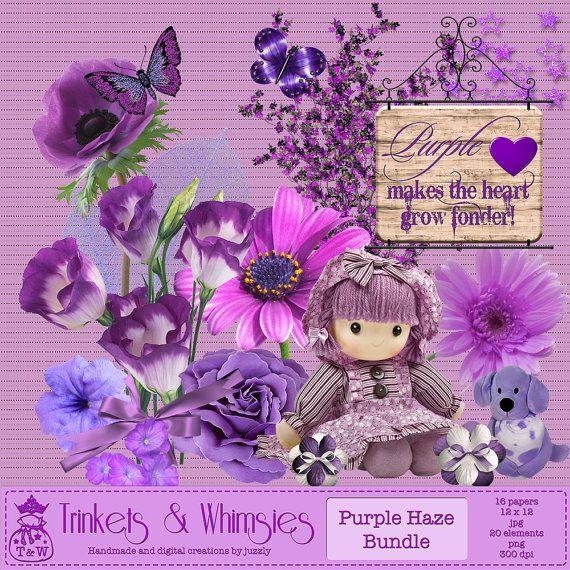 Purple Haze Digital Scrapbook Bundle  by TrinketsAndWhimsies, $4.99