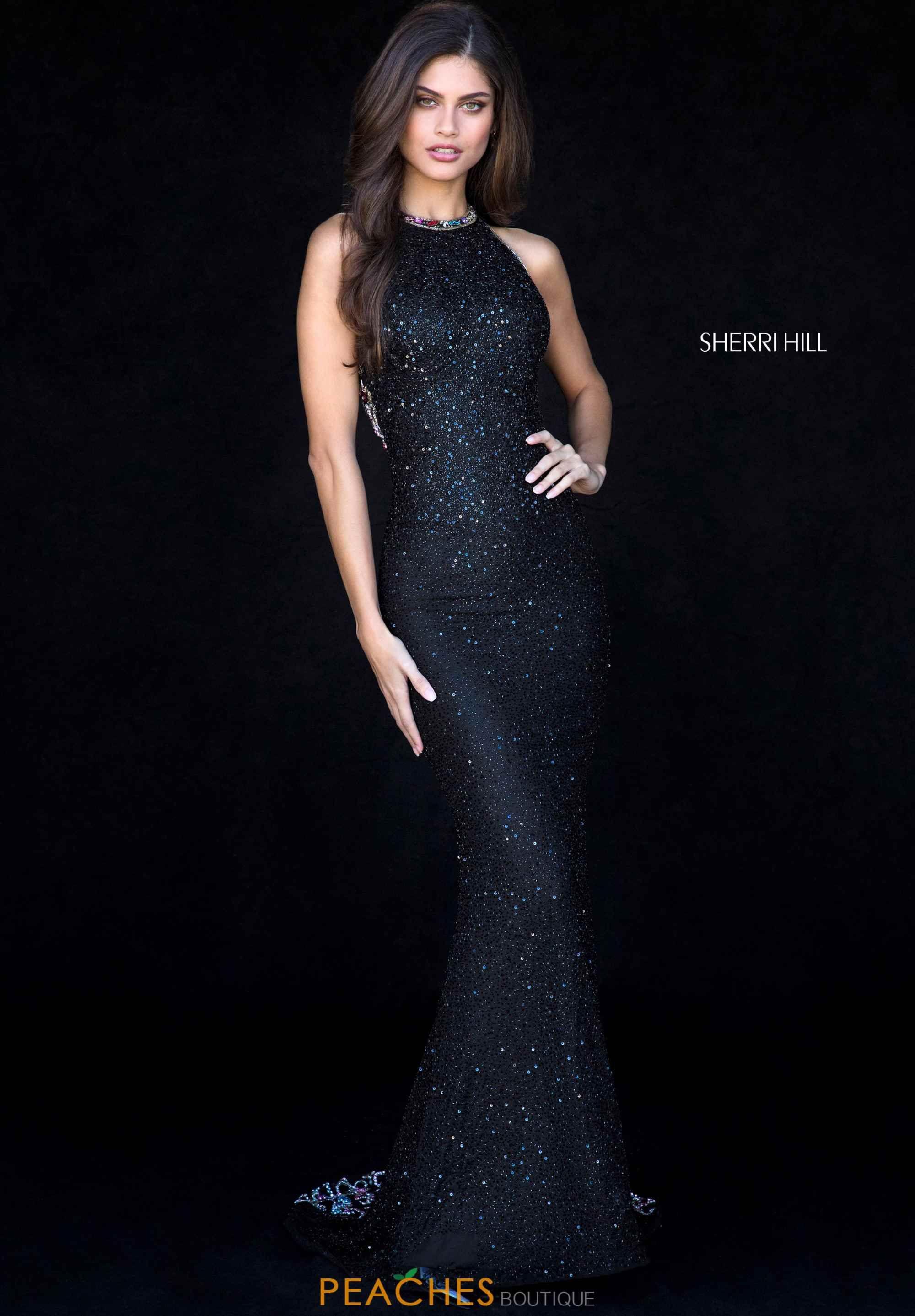 Sherri hill halter beaded dress in long black sequin multi colored