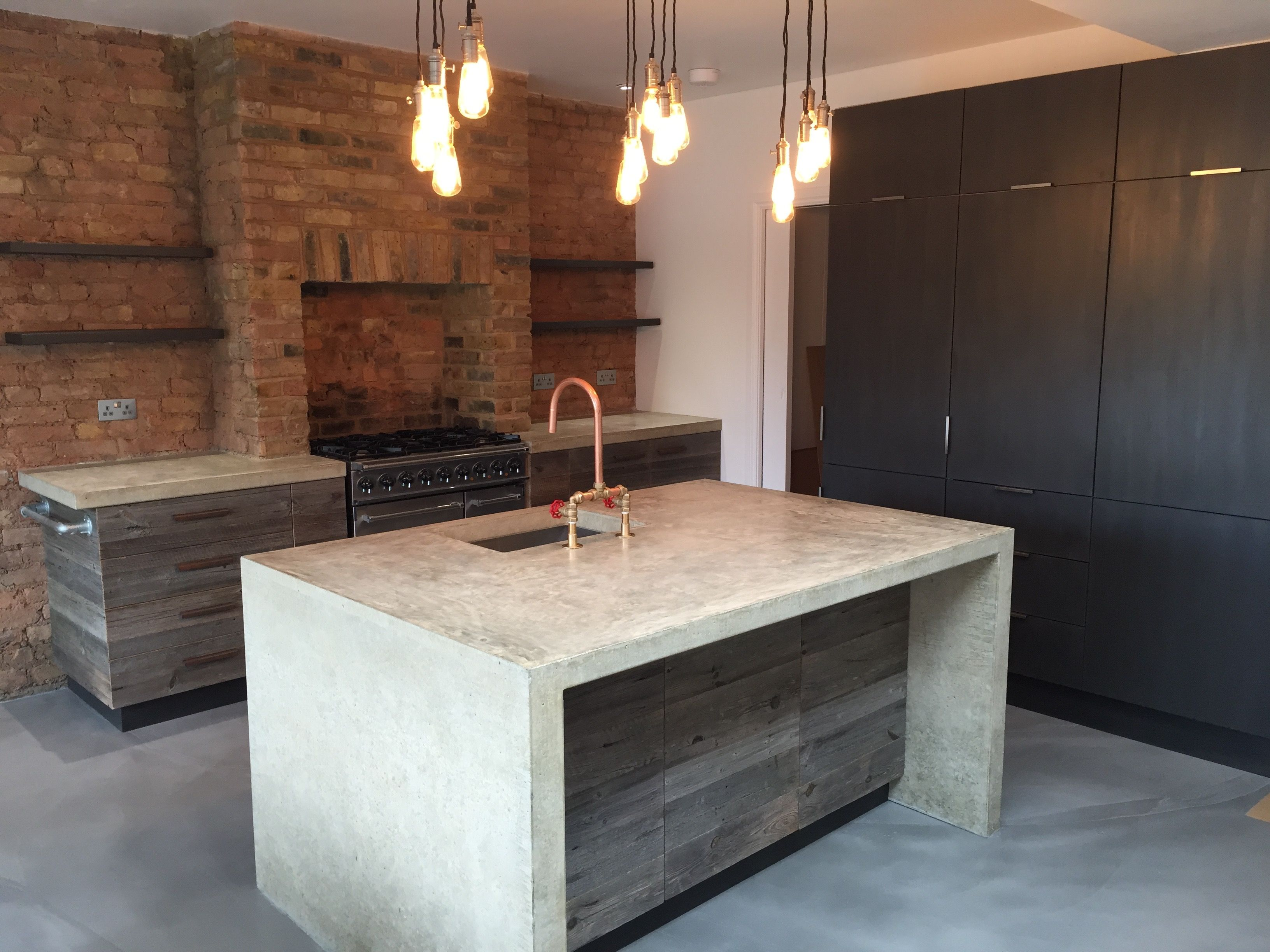 London Kitchen Project With Cast In Situ Polished Concrete Island,  Reclaimed Timber Cabinets,