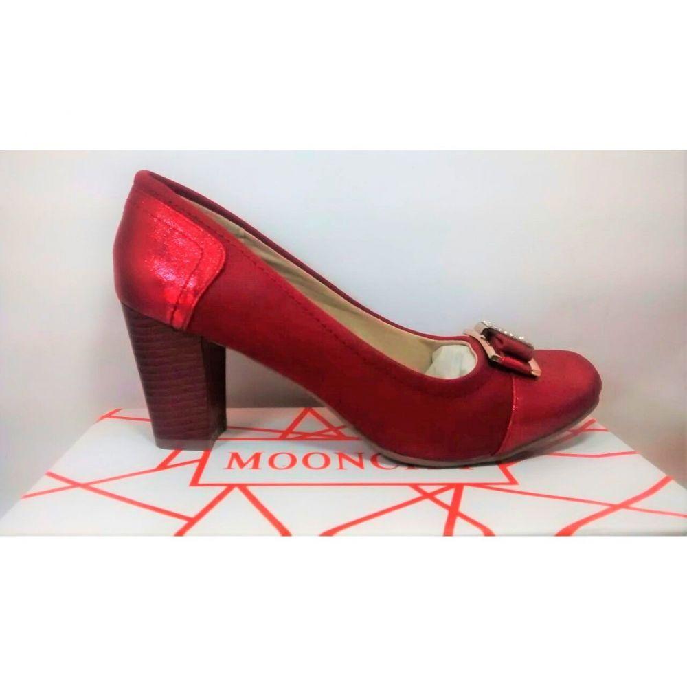 Sapato+Feminino+Salto+Baixo+Vermelho+Mooncity.+R$+39,90