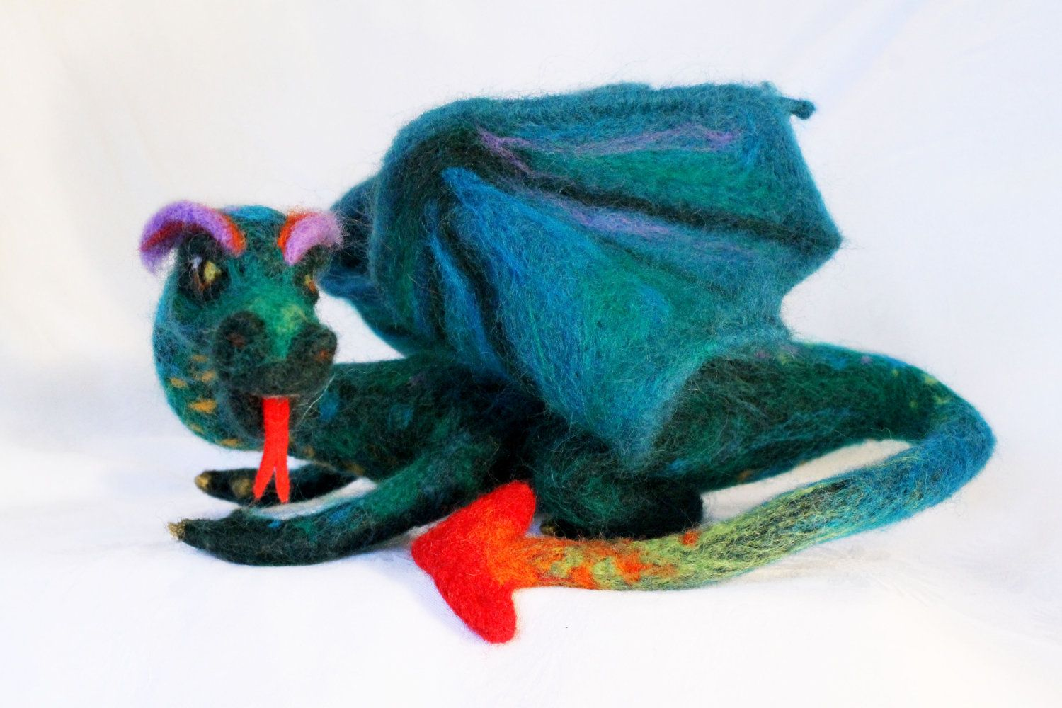 Needle felted Dragon, soft sculpture. $150.00, via Etsy.