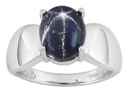 4.25ct Oval Cabochon Blue Star Sapphire Solitaire Sterling Silver Ring