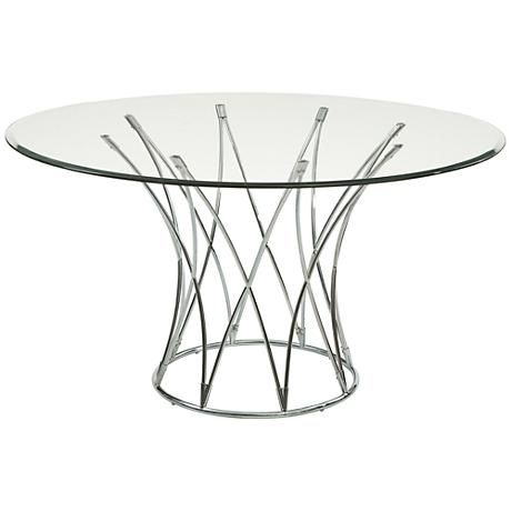 Mercer 54 Wide Chrome And Glass Round Modern Dining Table