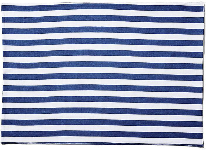 One Kings Lane Set Of 4 Beach Towel Stripe Place Mats Blue White