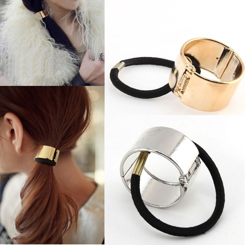 Click to Buy    1PCS Fashion Cool Metal Circle Hair Cuff Band Tie Elestic  Ponytail Holder Silver Gold  Affiliate.    7fff72d6940