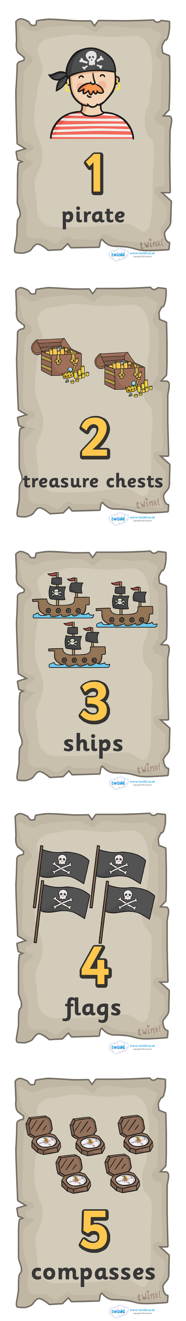 Twinkl Resources >> Pirate Number Posters >> Classroom printables for Pre-School, Kindergarten, Elementary School and beyond! Pirates, Numbers, Math