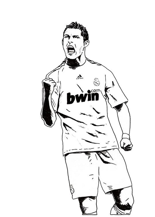 Coloriage Gratuit Ronaldo.Cristiano Ronaldo Real Madrid Coloring Soccer Player Sheet