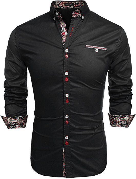 423e3d45 Coofandy Men's Fashion Slim Fit Dress Shirt Casual Shirt, 01-black, Small  at Amazon Men's Clothing store: