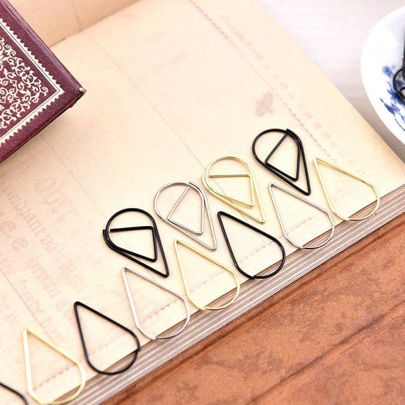 Paper Clamp DIY Crafts Small Water Drop Shape Bookmarks Metal  Marking Clips