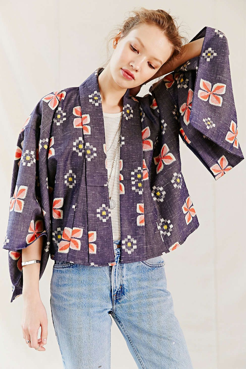 Urban Renewal Recycled Cropped Kimono Jacket - Urban Outfitters ...
