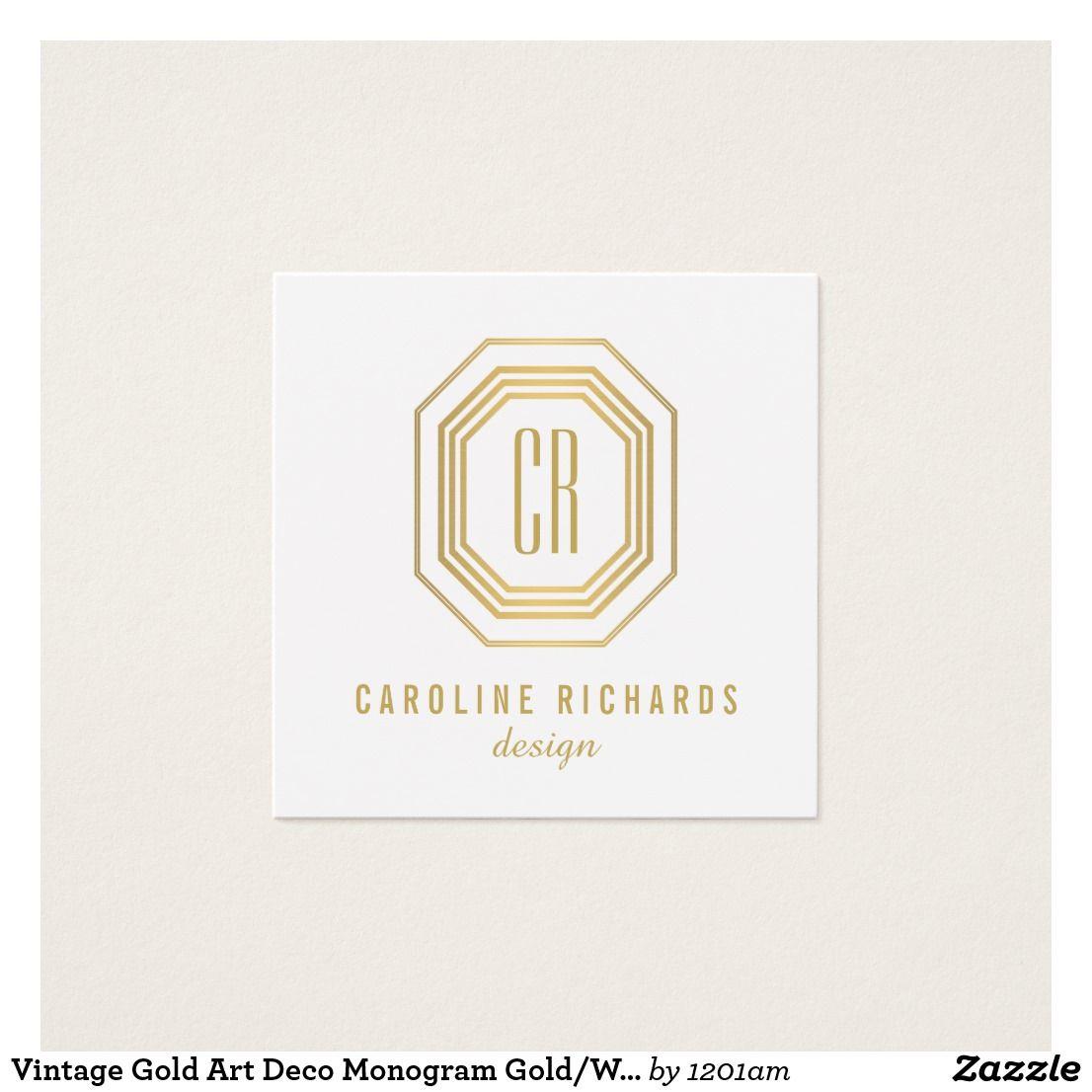 Vintage gold art deco monogram goldwhite square business card vintage gold art deco monogram goldwhite square business card reheart Gallery