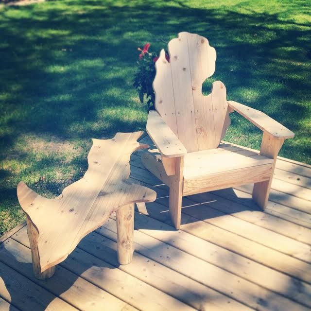 Beautiful Michigan Adirondack Chair In Natural Sanded Cedar   Perfect For  Deck, Patio Or Porch.