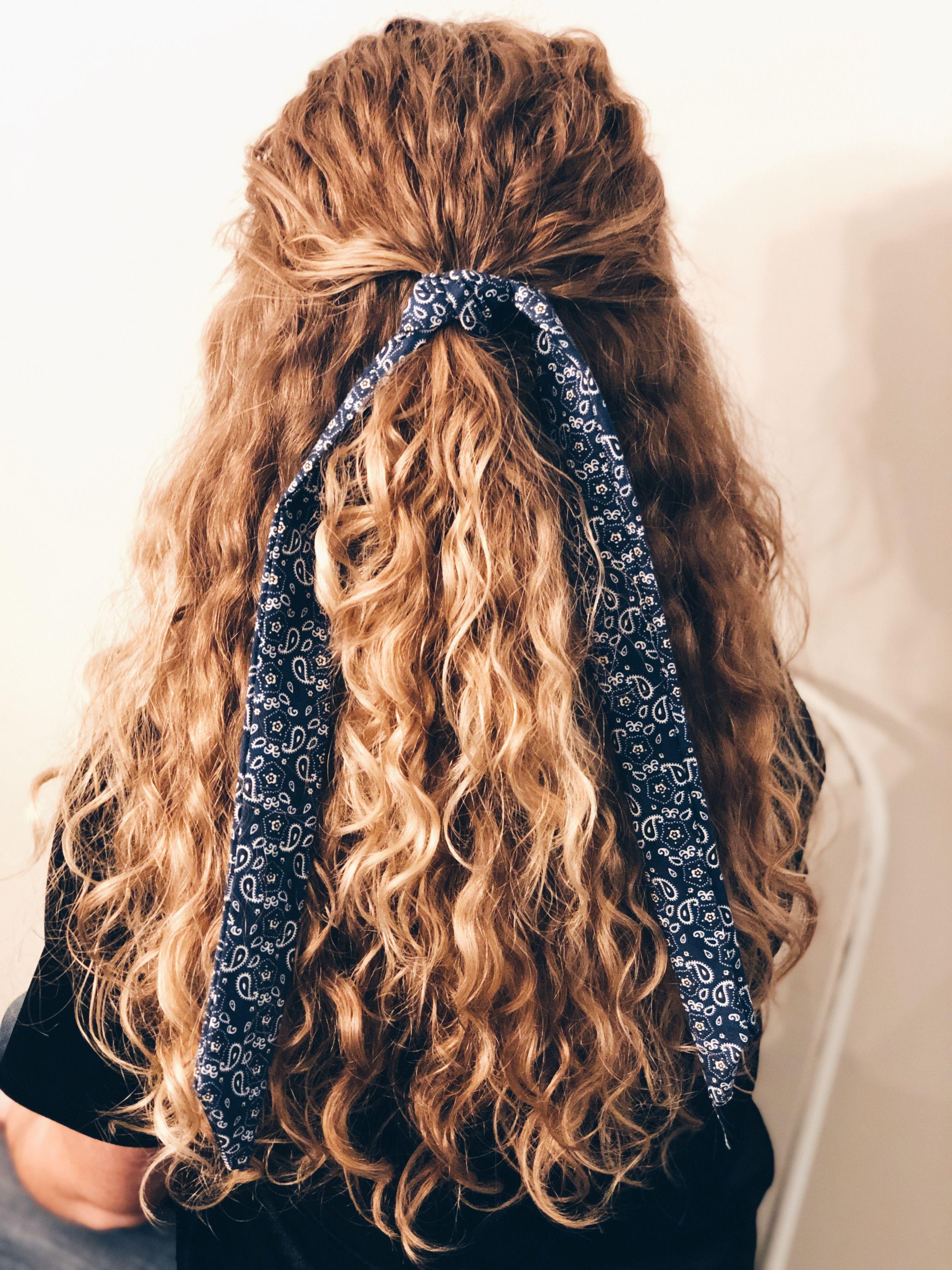 Navy Bandana Hair Scarf Hair Styles Curly Hair Styles Long Hair Styles