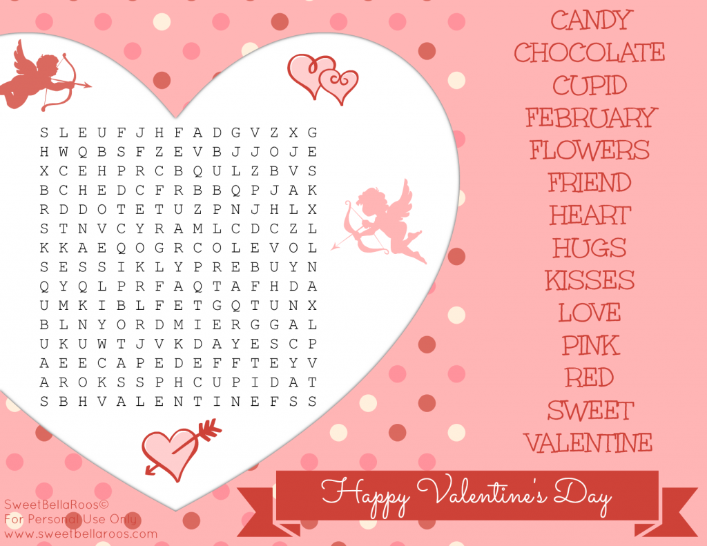 Free Valentine S Day Word Search Printable Sweet Bella