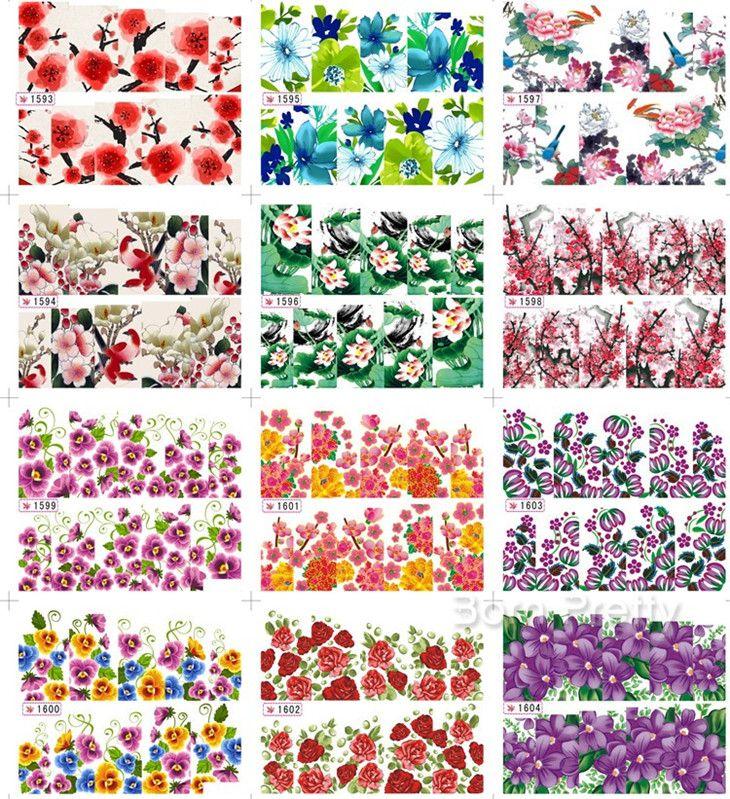 $1.86 1 Sheet Colored Lotus Rose Plum Blossom Floral Pattern Nail Art Water Decals Transfers Sticker - BornPrettyStore.com