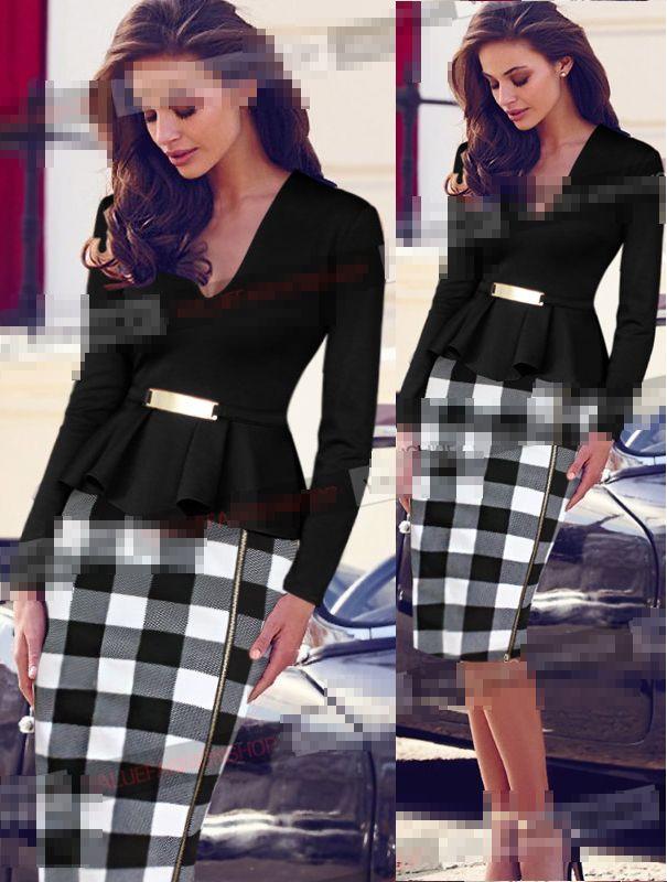 Click To Buy Elegant Business Women Peplum Dress Long Sleeve