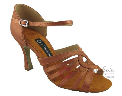 Natural Spin Latin Shoes(Open Toe):  M1134-07a_DrBrown2CS