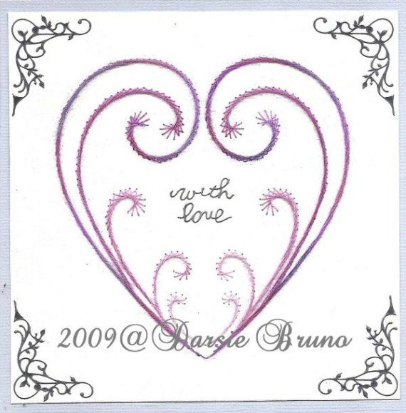 Stitched Heart Valentine Paper Embroidery Pattern for Greeting