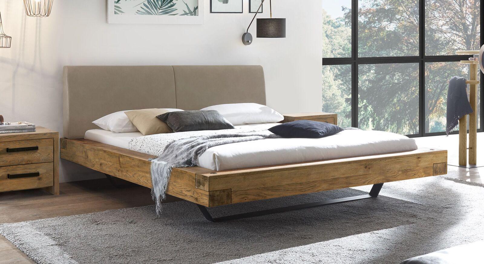 Bett In Balkenoptik Aus Wildeiche Kunstleder Metall Okondo Schlafzimmerrenovierung Bett Eiche Schlafzimmer Design