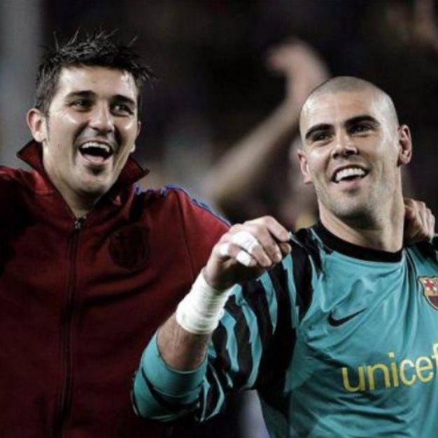 Victor Valdes and David Villa  FC Barcelona
