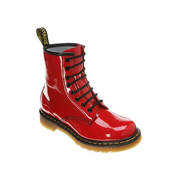 Dr Martens Fluorescent 8 Eye Boot 125 Liked On Polyvore Featuring Shoes Boots Red Red Patent Lamper Dr Ma Boots Dr Martens Boots Patent Leather Shoes