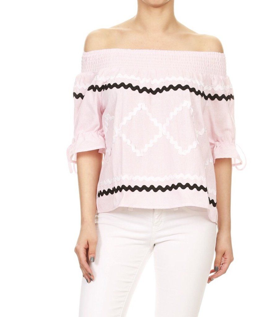 604e9fbbdc0687 Pink Pin Stripe 3/4 Sleeve Top with wavy ribbon trim & tie sleeves ...