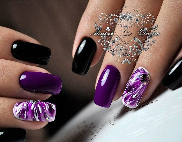 45 purple nail art designs fashion black manicure and spring 45 purple nail art designs prinsesfo Images