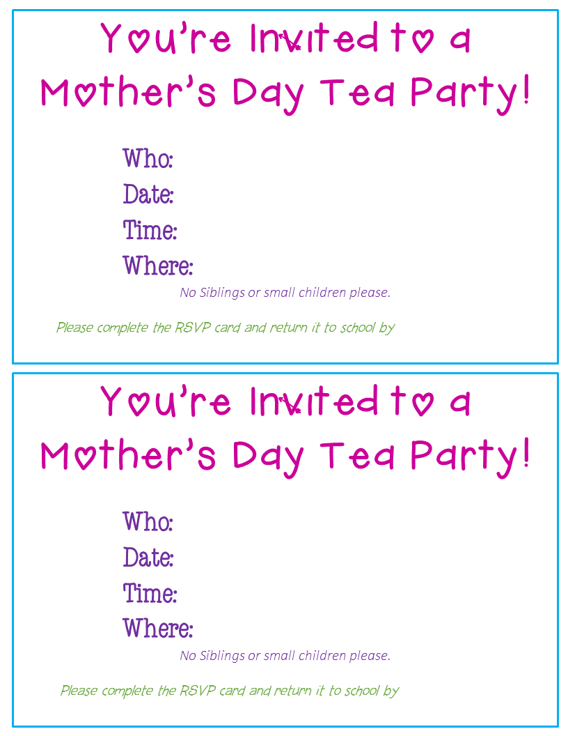 Mother S Day Tea Party Editable Invitations And Rsvp Cards
