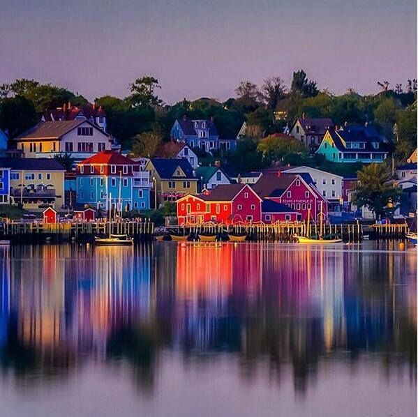 Sunsets are deep in colors in Lunenburg, UNESCO World Heritage site.