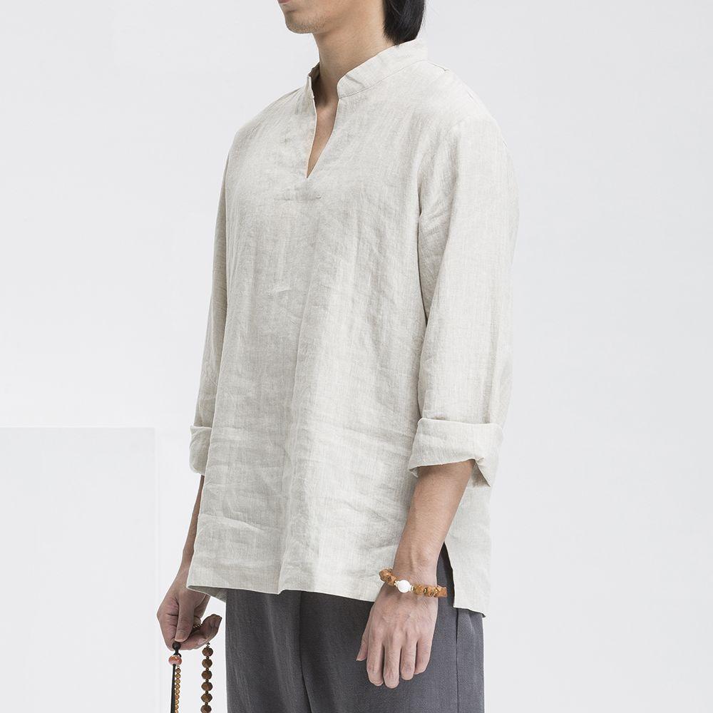 Chinese Traditional Style Mens Kung Fu Hanfu Tai Chi Zen Shirt 100 ...