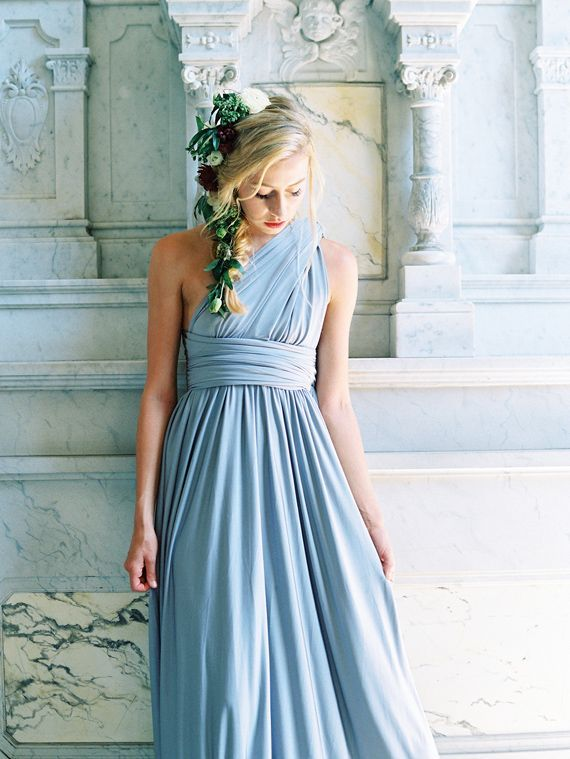 9204a245474 How pretty are these bridesmaid dresses  Allow us to introduce David s  Bridal s new Versa Long Convertible Jersey Dress