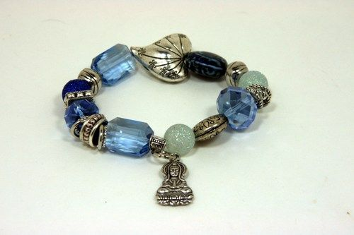 Buddha Chunky Bracelet with Sapphire color Glass Beads, Silver Charms