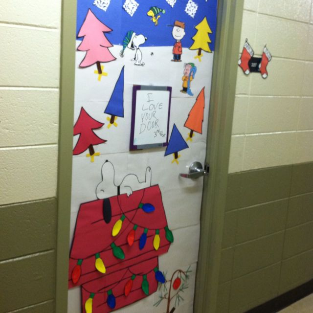 Decorating Classroom For Christmas: Charlie Brown Christmas Theme Door I Made At School.