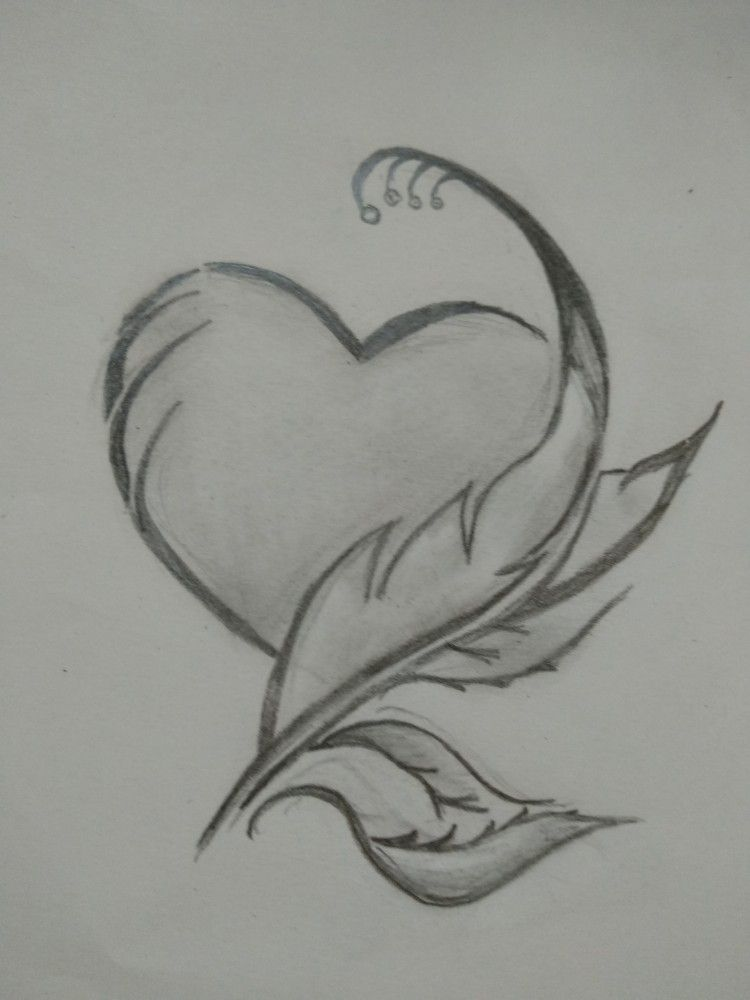 Heart and feather art | Pencil art drawings, Art drawings ...