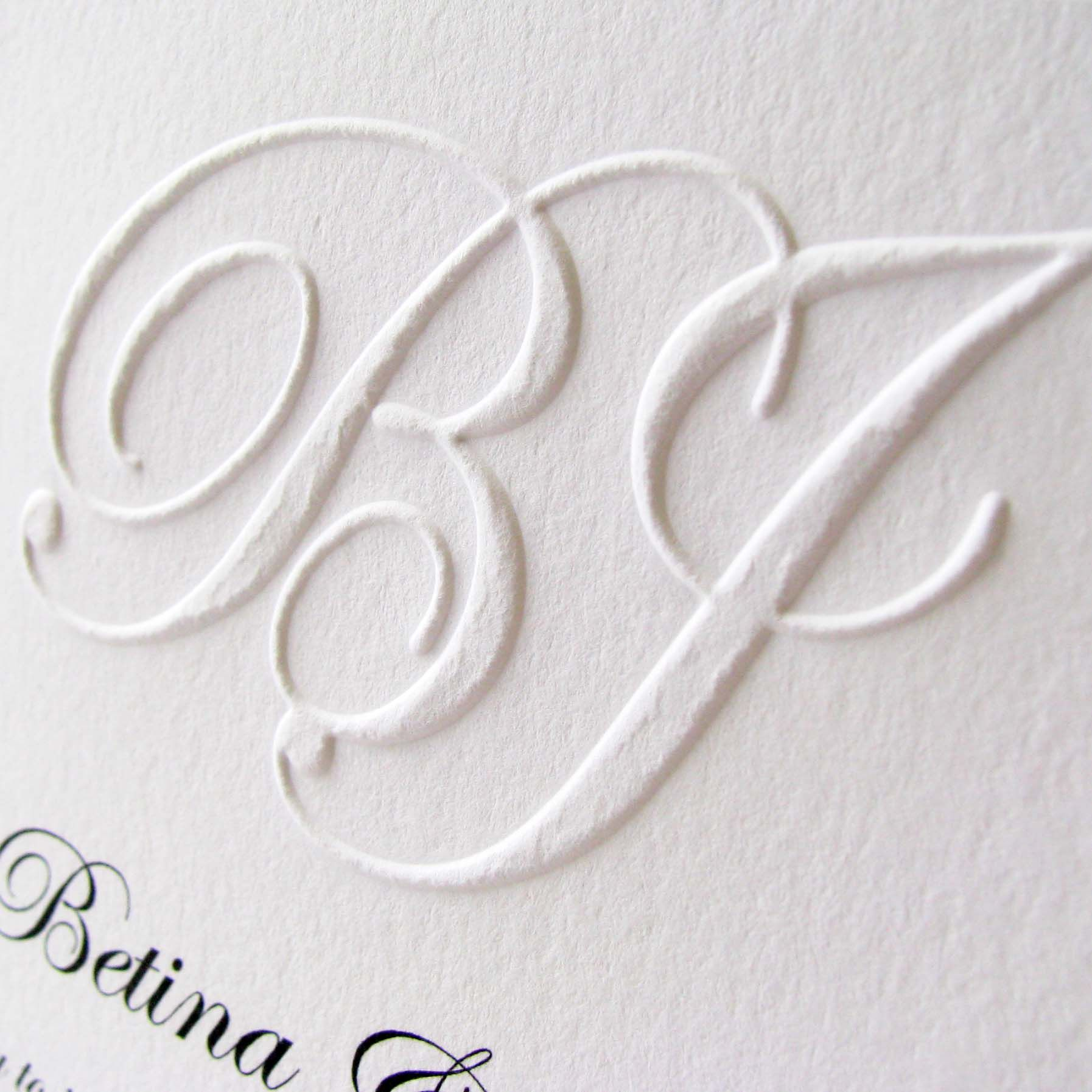 Embossed Monogram Wedding Invitation And Rsvp Sample From Digby Rose Featuring Letterpress Light